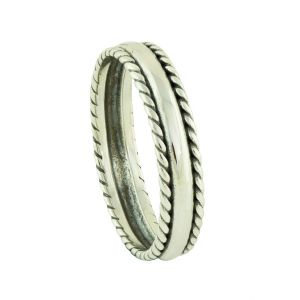 Woven Surround Oxidized Silver Ring