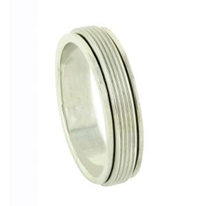 Linear Carve Silver Spinner Ring