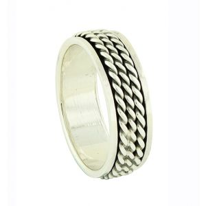 Linear Chain Silver Spinner Ring
