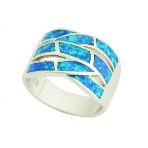 Blue Opal Multi Cross Silver Ring