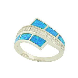 Blue Opal Nurtured Silver Ring
