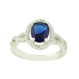 Open Claw Created Blue Sapphire Ring