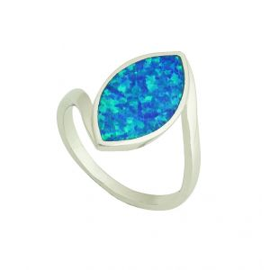 Blue Opal Almond Silver Ring