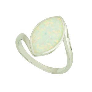 White Opal Almond Silver Ring