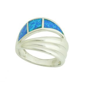 Blue Opal Silver Reflection Ring