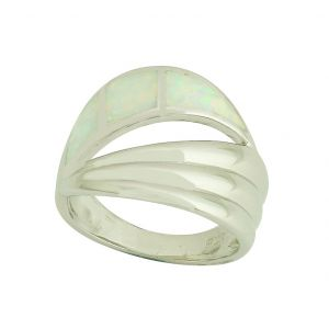 White Opal Silver Reflection Ring