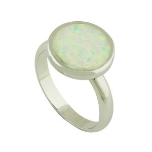 White Opal Coin Silver Ring