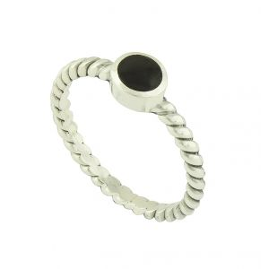 Black Onyx Simple Set Silver Ring