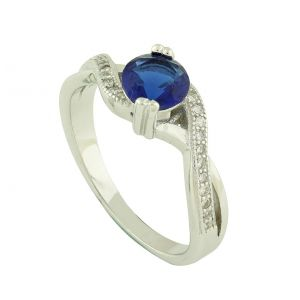 Created Sapphire Set Cubic Zirconia Twist Ring