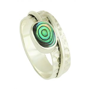 Abalone and Hammered Band Silver Ring