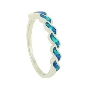 Blue Opal Movement Link Ring