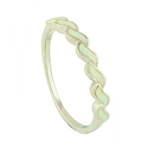 White Opal Movement Link Ring