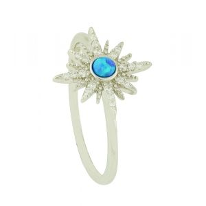 Blue Opal Starburst Silver Ring
