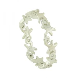 Starfish and Cubic Zirconia Sterling Silver Ring