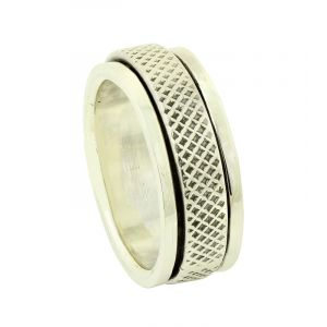 Grid Silver Spinner Ring