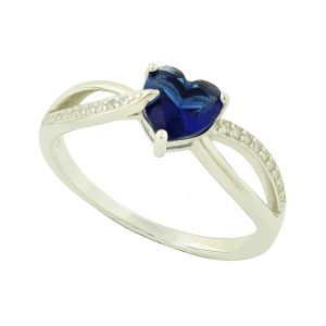 Created Blue Sapphire Heart Entwined Silver Ring