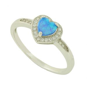 Blue Opal Heart Sparkle Band Ring