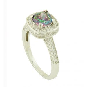 Rainbow Topaz Bedazzle Silver Ring