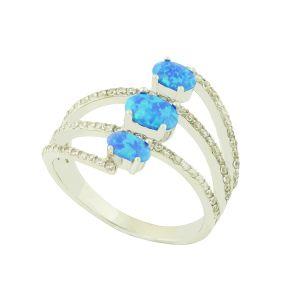Trio Blue Opal Silver Ring
