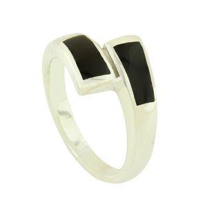 Black Onyx Prism Silver Ring
