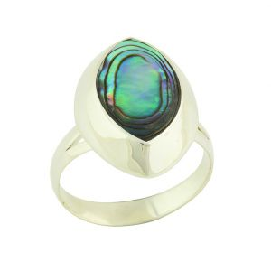 Abalone Almond Silver Ring
