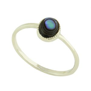 Abalone Solo Silver Ring