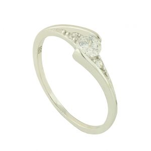 Clasped Cubic Zirconia Silver Ring