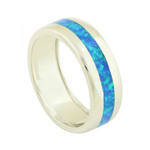 Blue Opal Strand Band Ring