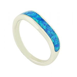 Blue Opal Rolled Ring