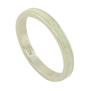 White Opal Band Silver Ring