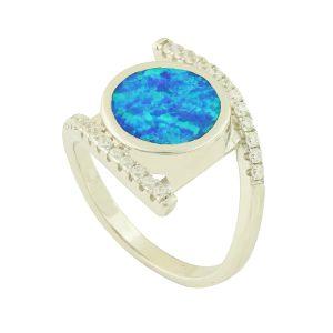 Blue Opal Sparkle Vision Ring