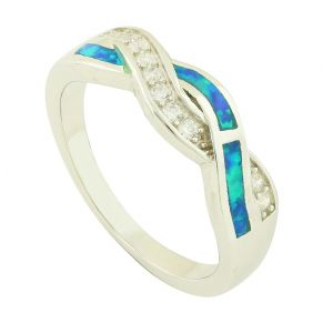 Blue Opal Blended Sparkle Ring