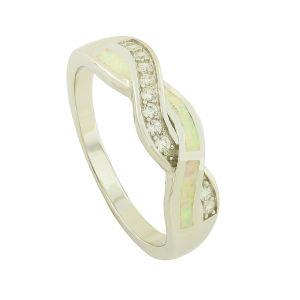 White Opal Blended Sparkle Ring