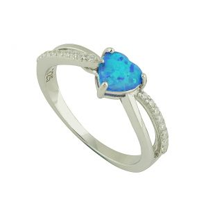 Blue Opal Heart Entwined Silver Ring
