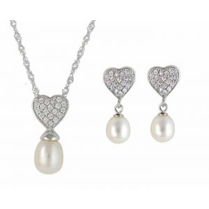 Cubic Zirconia Heart and Freshwater Pearl Earring and Necklace Set