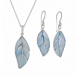 Sterling Silver Mother of Pearl Detailed Leaf Necklace and Drop Earrings