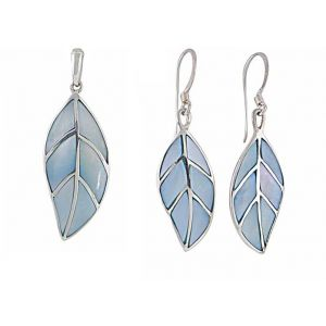 Opulent Sterling Silver Mother of Pearl Leaf Pendant and Drop Earrings