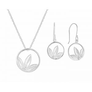 Open Circle Flower Petal Pendant and Drop Earrings Set