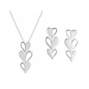 Triple Heart Drop Earrings and Necklace Jewellery Set