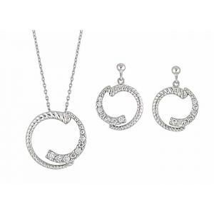 Cubic Zirconia Circle Pendant and Matching Earrings Set