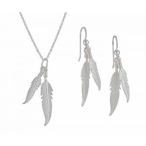 Twin Feather Silver Necklace and Earrings Set