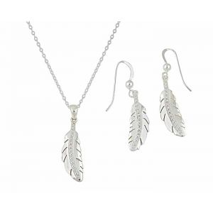 Single CZ Studded Feather Pendant and Drop Earrings Set