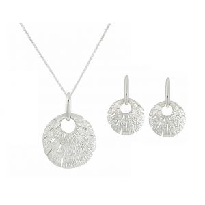 Three Tier Textured Disc Silver Necklace and Stud Earrings Set