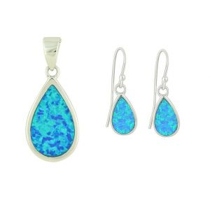 Blue Opal Teardrop Pendant and Earrings Set