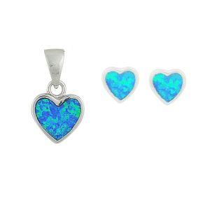 Mini Heart Blue Opal Earrings and Pendant Set