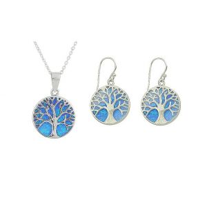 Blue Opal Tree Of Life Silver Necklace and Earrings Set