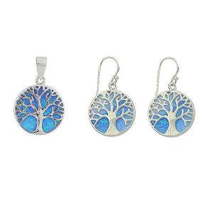 Blue Opal Tree Of Life Silver Pendant and Earrings Set