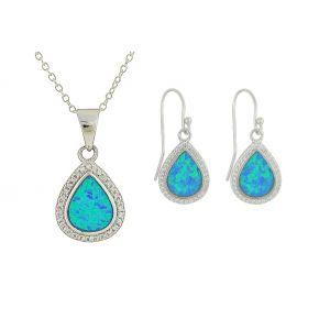 Dewdrop Blue Opal Silver Pendant and Earrings Set