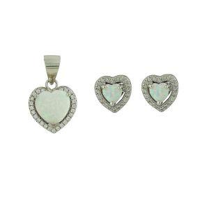 Sparkling Love Heart White Opal Set
