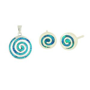 Blue Opal Coil Necklace and Stud Earrings Set